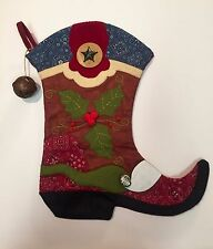 Western Cowboy Boot Christmas Stocking Holly 3D Applique Embroidery Fine Details