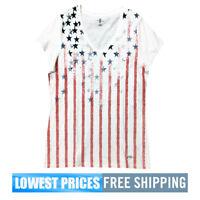 Tommy Hilfiger NWT Women's Hilfiger Bright White May Stars Stripes Top T Shirt