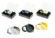 3pc SILVER BLACK GOLD JEWELERS LOUPE 18MM 10X POWER GLASS LENSE MAGNIFIER LOOP