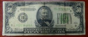 1934 $50 FRN St Louis LIGHT GREEN Fr 2102-H Fine Condition - be