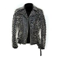 New Men Full Black Punk Silver Long Spiked Studded Brando Cowhide Leather Jacket