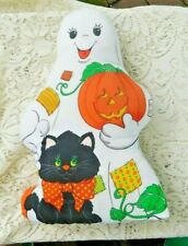 VINTAGE HALLOWEEN STUFFED CLOTH GHOST WITH MICE AND BLACK CAT TOY / PILLOW