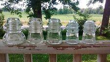 Lot of 5 Hemingray clear glass insulators #42,#16,#9