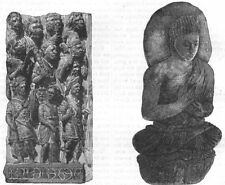 INDIA. Bas-Relief Indian Temple; Idol c1880 old antique vintage print picture