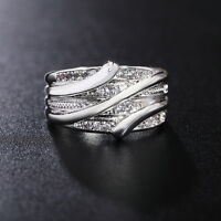 Mujer Anillos De Compromiso Boda 925 Plata Anillo Cristal joyería Ring