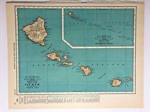 1938 Vintage HAWAII Authentic Antique Atlas Map - Collier's World Atlas