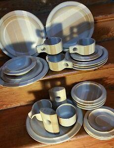 Vtg 24 piece set Fabrik Stoneware Pottery Foxfire dishes Jim McBride 4 settings+