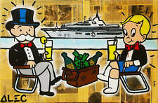 """Alec Monopoly Oil Painting on Canvas Abstract Urban art wall decor Yacht 28x48"""""""