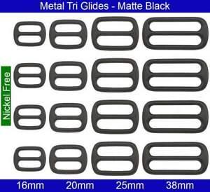 Metal Tri Glides - 16mm, 20mm, 25mm, 38mm - Zinc die Casting - Matte Black