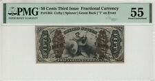 50 CENTS THIRD ISSUE FRACTIONAL CURRENCY FR.1364 JUSTICE PMG ABOUT UNC 55