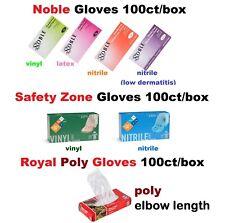Latex/Nitrile/Vinyl/Poly Gloves S /M /L /XL Powder Free Noble/Safety Zone/Royal