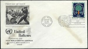 1960 UNITED NATIONS FDC - FIFTH WORLD FORESTRY CONGRESS - ART CRAFT CACHET!