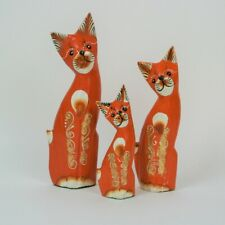 More details for set of 3 hand carved fair trade solid wooden cats - striped ear