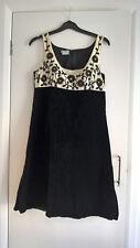 Vintage Retro vestido blanco y negro 60s Talla 12 Mod Boda