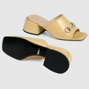Gucci Yellow Patent-leather Lexi Mid-heel Slide Sandals 37.5 NNIB