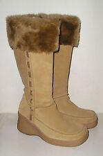 SKECHERS Women's Tan Leather Platform Fashion Winter Tall Boots Shoes 6.5 M MINT