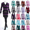 New Stripe Knitted Jumper Cardigan Top Long Sleeve Dress Plus Size 8-20
