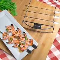 Zenware Stainless Steel Barbecue Kabob Skewers and Rack Set for BBQ Shish Kebab
