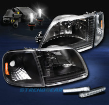 1997-2003 F150/2002 EXPEDITION BLACK/AMBER CRYSTAL HEAD LIGHT LAMP W/DRL LED+HID