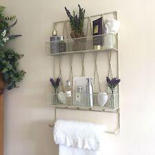 Shabby Chic Vintage Metal Bathroom Wall Shelf Unit Rack Towel Rail Storage Unit