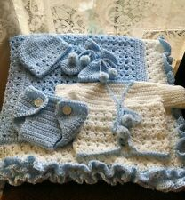 BEAUTIFUL HAND CROCHET BABY LARGE BLANKET  40x40 HELP A CANCER SURVIVOR!