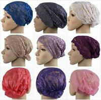 Lace Under Scarf Snood Beanie Bonnet Cap Turban Hat for Hijab Head Hair Cap wrap
