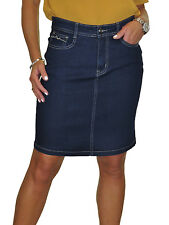 Stretch Denim Above Knee Jeans Skirt Sequin Pocket Indigo Blue NEW 8-20