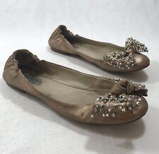 32bb489ff36 Steve Madden Women s Sz 8.5 M Gold Brown Leather Bow Detail Ballet Flats