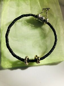 Pandora Black Woven Silver Clasp Leather Bracelet Sz 19cm Genuine Ale & 2 Beads