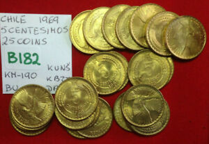B182 Chile; 25 Coins from Mint Bag - 5 Centesimos 1969 KM#190 BU
