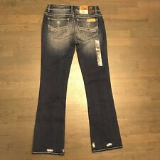 BUCKLE BKE STELLA LOW RISE SLIM FIT  BOOTCUT STRETCH DISTRESSED DENIM JEANS 27R