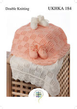 UKHKA 184 Baby Double Knitting Pattern for Lacy Scallop Edge Blanket & Bootees