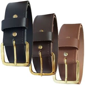 Mens Womens Plain Leather Belt In Black Brown or Tan Jeans Trousers Gold Buckle