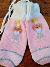 Nos Vintage 1960s Pink Knit Princess Mittens Winter Gloves Girls Snow Glitter