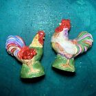 Colorful Farmyard Vintage Ceramic Rooster Chicken Salt & Pepper Shakers ~YaY!