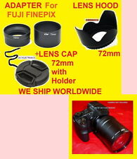ADAPTER+HOOD+CAP 72mm to FUJI S4000 S4200 S4250 S4300 S3200 S3250 S3300 S3400