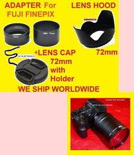 ADAPTER+HOOD+CAP 72mm to FUJI S4000 S4200 S4250 S4300 S3200 S3250 S3300 S3400 HD