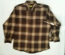 Men's brown Plaid 7 Check button front winter shirt size 2XL by Work n' Sport!