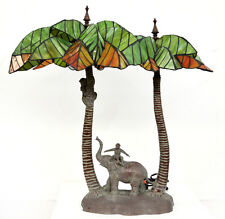 Palm Tree Elephant/Monkey Tiffany Style Table Lamp Boudoir Exotic,Safari,Africa