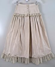 1970s Charles Jourdan Beige 100% Silk Gold Tulle Lace Victorian Skirt Size 38