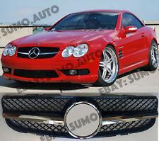 Mercedes SL R230,2006-08 grille,one fin,AMG SL55/SL65 look;SL350;600,Gloss black