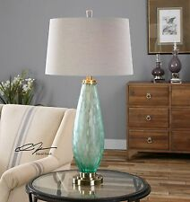 """NEW 33"""" FROSTED SEA GREEN GLASS TABLE LAMP AGED BRASS DETAILS LINEN SHADE LIGHT"""