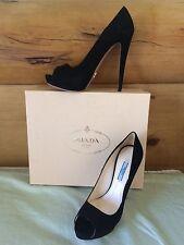 Prada Black Suede Peep toe Platform 3 inch Size 39 (9 1/2) NWT Retails $720