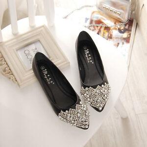 Womens Rhinestone Flats Pumps Ballet Princess Shoes Crystal Boat Shoes Plus Size