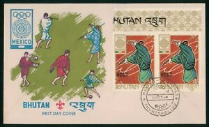Mayfairstamps Bhutan FDC 1968 Olympic Games Mexico Block First Day Cover wwo_042