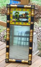Antique Federal Period American Mirror Reverse Painted Fishing Glass 19 Century