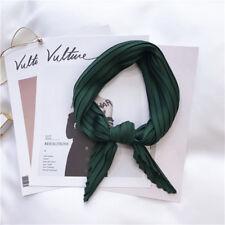 Women Satin Pleated Scarf Bag Ribbon Square Handkerchief Neckerchief Solid Color