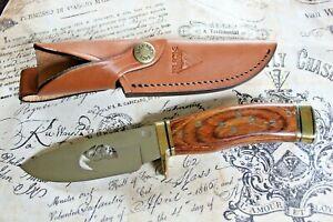 Buck USA CUSTOM Wood Limited Edition Fixed Blade Leather Sheath Knife