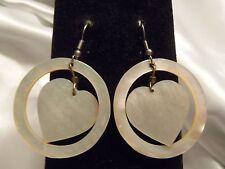 BEAUTIFUL Vintage CHUNKY Style ABALONE SHELL Ring & HEART Dangle Earrings 15E100