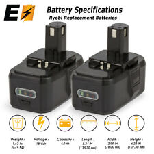 2 x 18V ONE+ High Capacity Lithium-ion Battery for RYOBI 18 VOLT ONE+ Tool 4.0AH